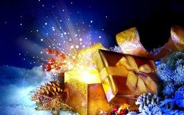 новый год, подарок, рождество, шишки, коробка