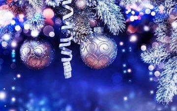 новый год, ветви, шарики, рождество, мишура