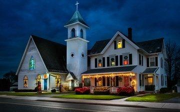 дом, церковь, праздники, рождество, donald reese