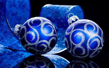 новый год, шары, отражение, праздники, лента, рождество
