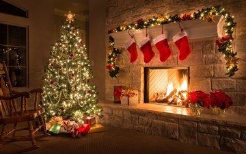 новый год, елка, подарки, праздники, камин, рождество, гирлянда