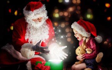 новый год, подарки, девочка, праздники, рождество, плюшевый мишка, санта, санта-клаус