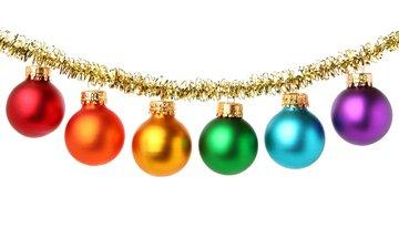 шары, шарики, белый фон, рождество, мишура