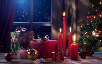 свечи, новый год, украшения, подарки, шарики, шишки