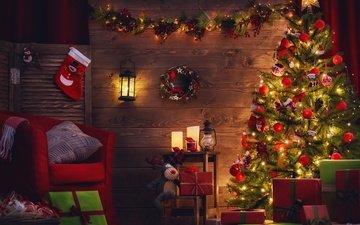 новый год, елка, олень, подарки, фонарь, рождество, венок, гирлянда