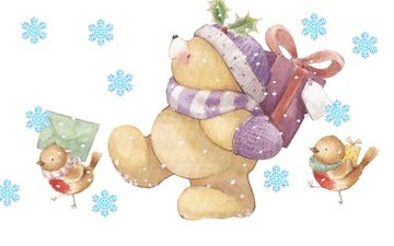 snow, new year, winter, bear, gifts, congratulations, birds, the postman