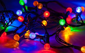 lights, reflection, light bulb, christmas, garland