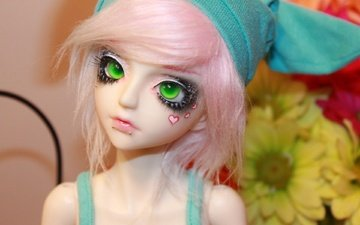 toy, doll, hair, face, green eyes