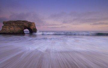the sky, clouds, rocks, sunset, landscape, sea, coast, the ocean, natural bridges state park, joshua cripps