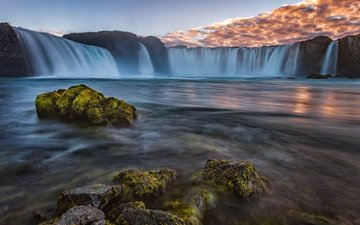the sky, clouds, water, nature, stones, waterfall, stream, iceland