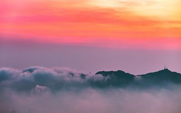 clouds, mountains, sunset, horizon