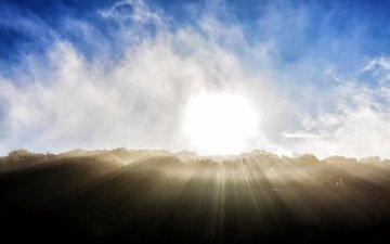 the sky, clouds, sunrise, horizon, sunlight