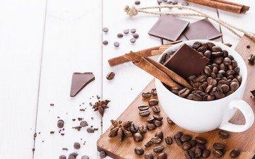 cinnamon, coffee, cup, chocolate, coffee beans, star anise