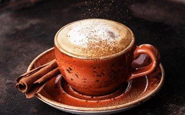 cinnamon, coffee, cup, cappuccino, foam