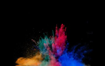 colorful, black background, the explosion, color, powder