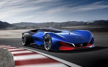 blau, peugeot, concept, von dem supersportwagen, hybrid, l500