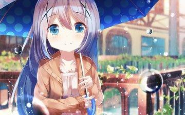девушка, капли, взгляд, дождь, волосы, зонт, лицо, аниме девочка, chino kafū, is the order a rabbit