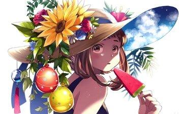 девушка, взгляд, аниме, волосы, лицо, cute anime, my hero academia, ochako uraraka