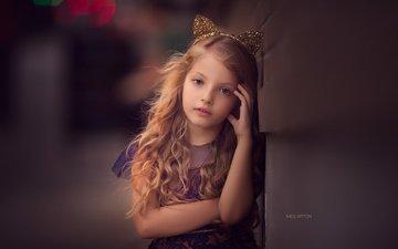 портрет, взгляд, дети, девочка, волосы, ушки, лицо, ребенок, локоны
