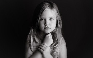 look, black and white, children, girl, hair, face, child