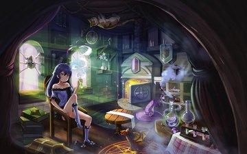 девушка, взгляд, ведьма, волосы, лицо, аниме девочка, оригинальная, experiments
