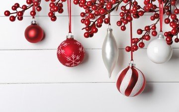 новый год, шары, ягоды, рождество, елочные украшение