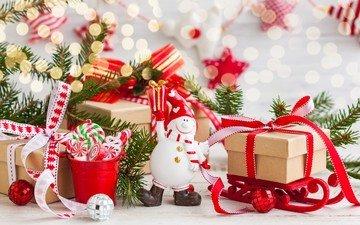 новый год, подарки, снеговик, шарики, рождество