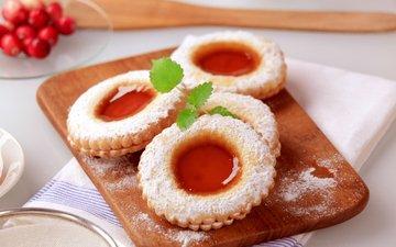 джем, печенье, выпечка, десерт, сахарная пудра