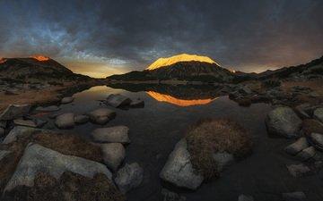lake, mountains, nature, stones, reflection, landscape, dawn