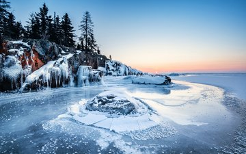 lake, nature, forest, winter, landscape, ice