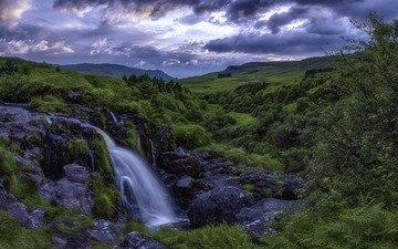 небо, облака, река, природа, пейзаж, водопад