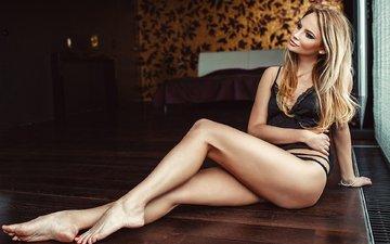 girl, blonde, model, sitting, legs, black lingerie