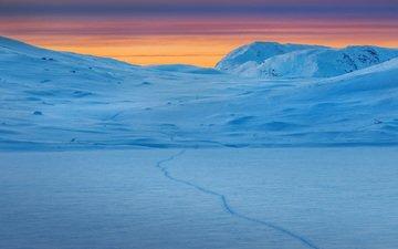 горы, снег, зима, пейзаж