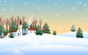 snow, new year, winter, vector, graphics, home, tree, christmas