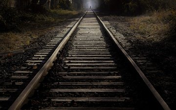 night, railroad, rails, silhouette
