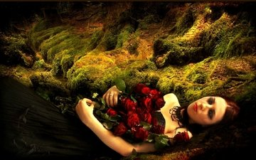 flowers, roses, model, moss, bouquet, makeup, black dress, closed eyes