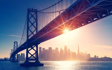 sunset, bridge, the city, usa, san francisco
