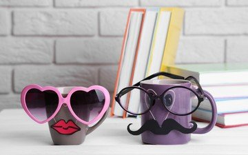mustache, glasses, books, mugs, lips, humor