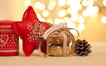новый год, звезда, шишка, рождество, печенье