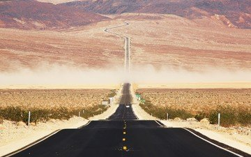 road, landscape, national park, death valley