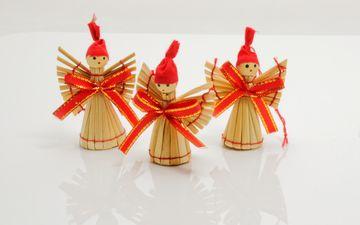 новый год, ангелы, ангел, праздник, рождество, солома, елочные украшения