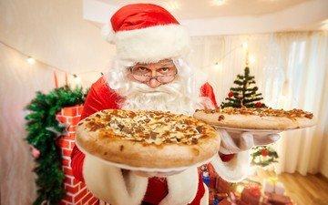 новый год, дед мороз, праздник, рождество, выпечка, пицца