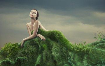 трава, девушка, взгляд, креатив, мох, волосы, лицо, голые плечи