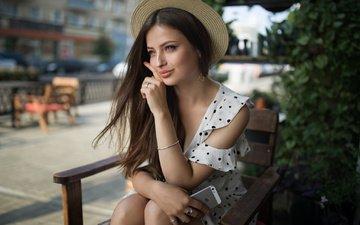 girl, brunette, look, model, hair, face, phone, hat, dmitry sn