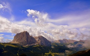the sky, clouds, mountains, landscape, the dolomites, mountain range