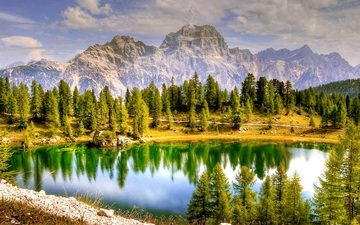 the sky, clouds, trees, lake, mountains, reflection, the dolomites