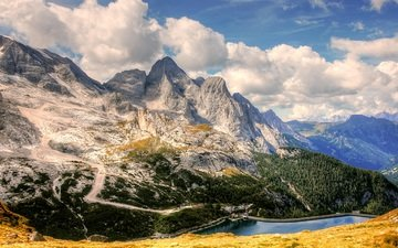 the sky, clouds, lake, mountains, forest, italy, the dolomites, marmolada