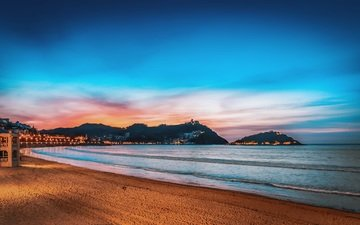 the sky, night, landscape, sea, sand, beach, the city, coast, spain, san sebastian