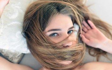 глаза, девушка, взгляд, модель, волосы, лицо