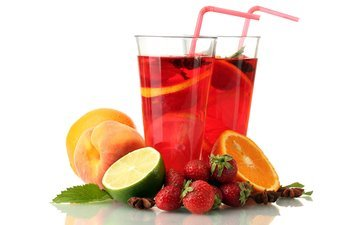 mint, drink, fruit, strawberry, berries, orange, lime, peaches, glass, juice, star anise, sangria